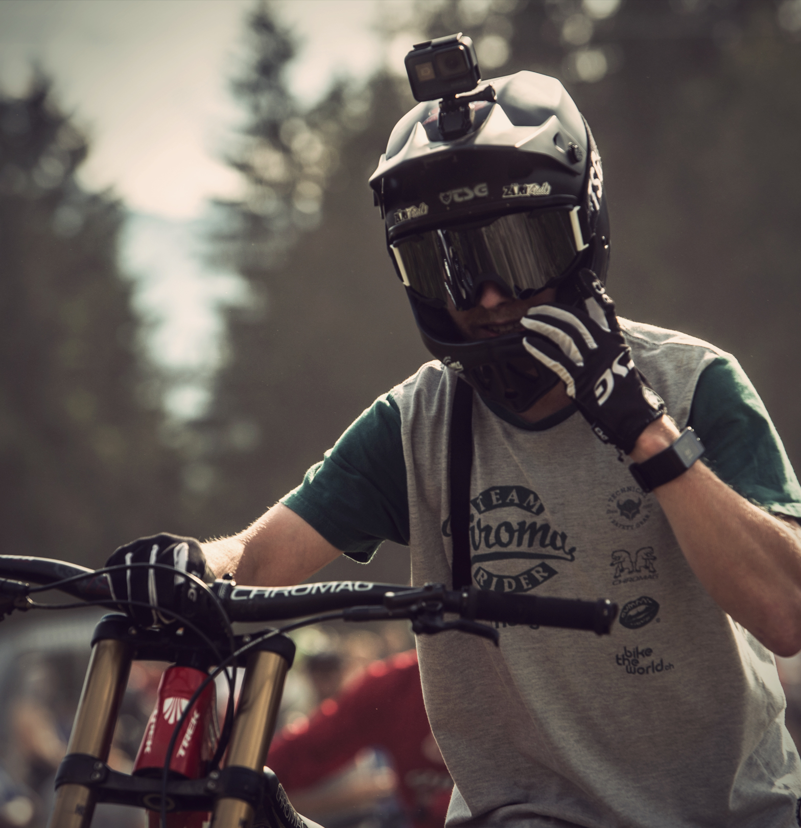 Dominik Widmer at the Crankworx Les Gets Whip-Off Session.