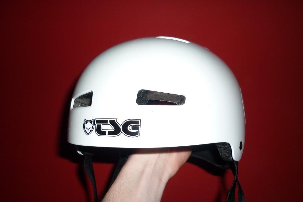 TSG Evolution Helmet after a crash