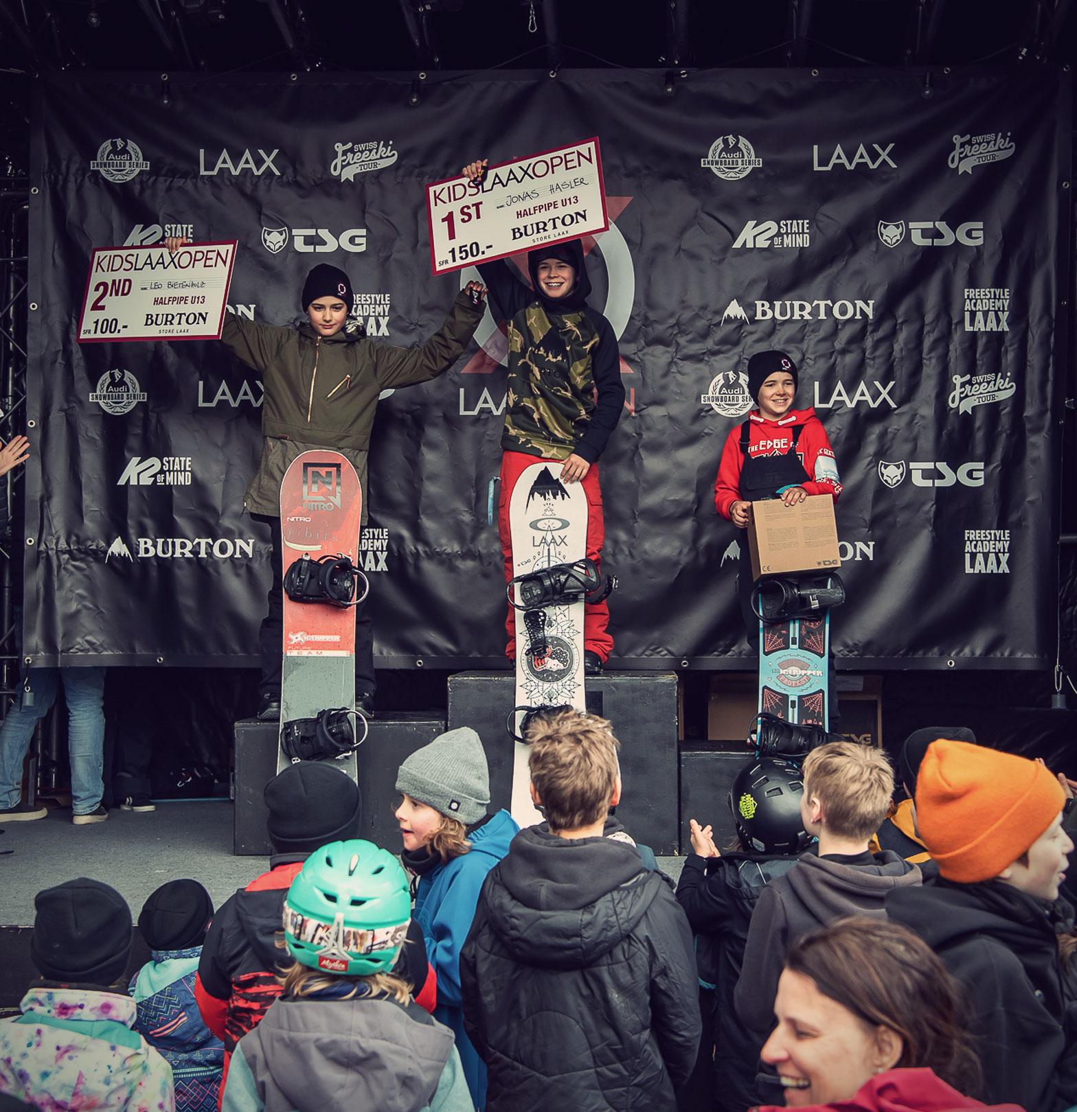 TSG Kids Kids Laax Open 2019 snowpark laax podium Jonas Hasler