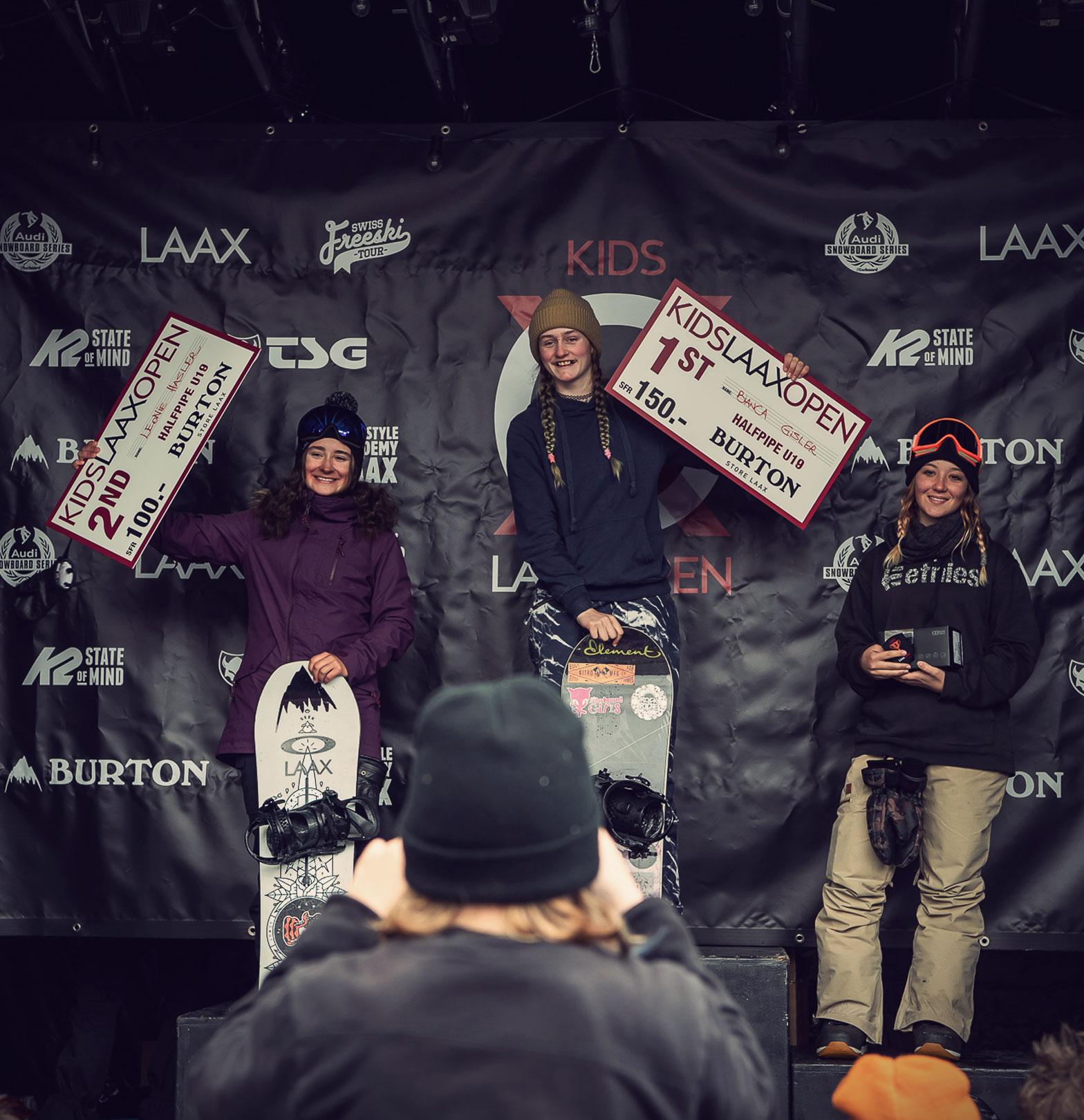 TSG Kids Kids Laax Open 2019 snowpark laax podium Leonie Hasler