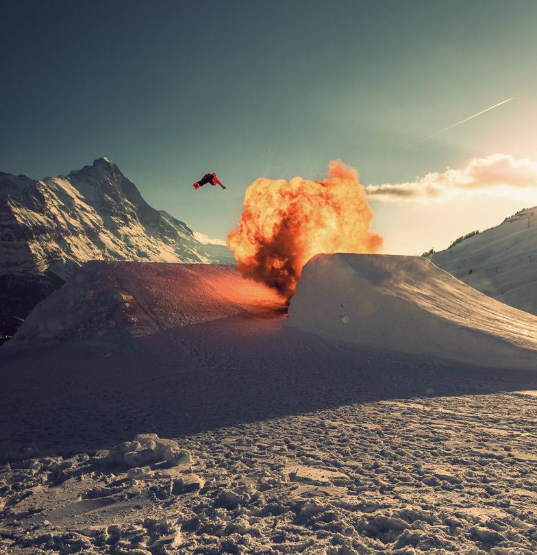 Bang Bang by Michael Schärer. Explosion Session in Snowpark Grindelwald