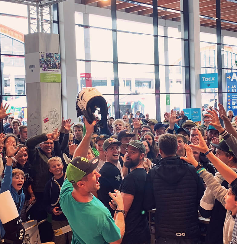 Eurobike 2019 crowded TSG booth during signing session