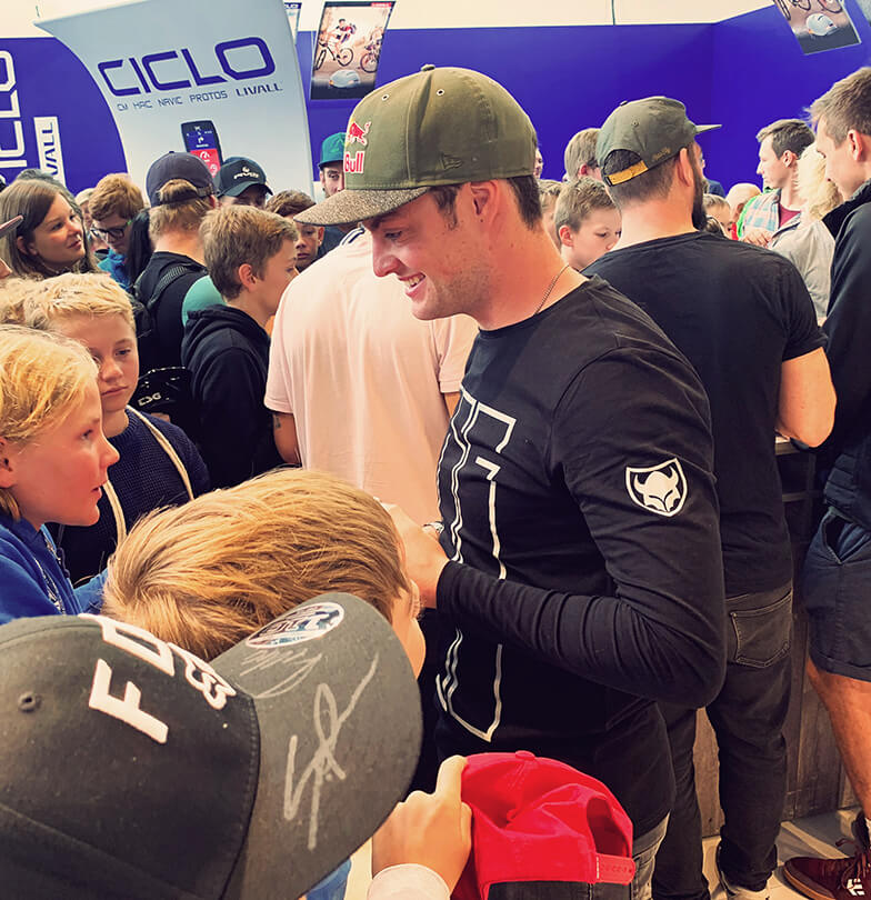 Eurobike 2019 TSG booth Matt Jones and fans