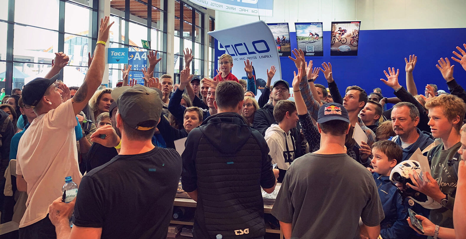Eurobike 2019 crowded TSG booth signing session