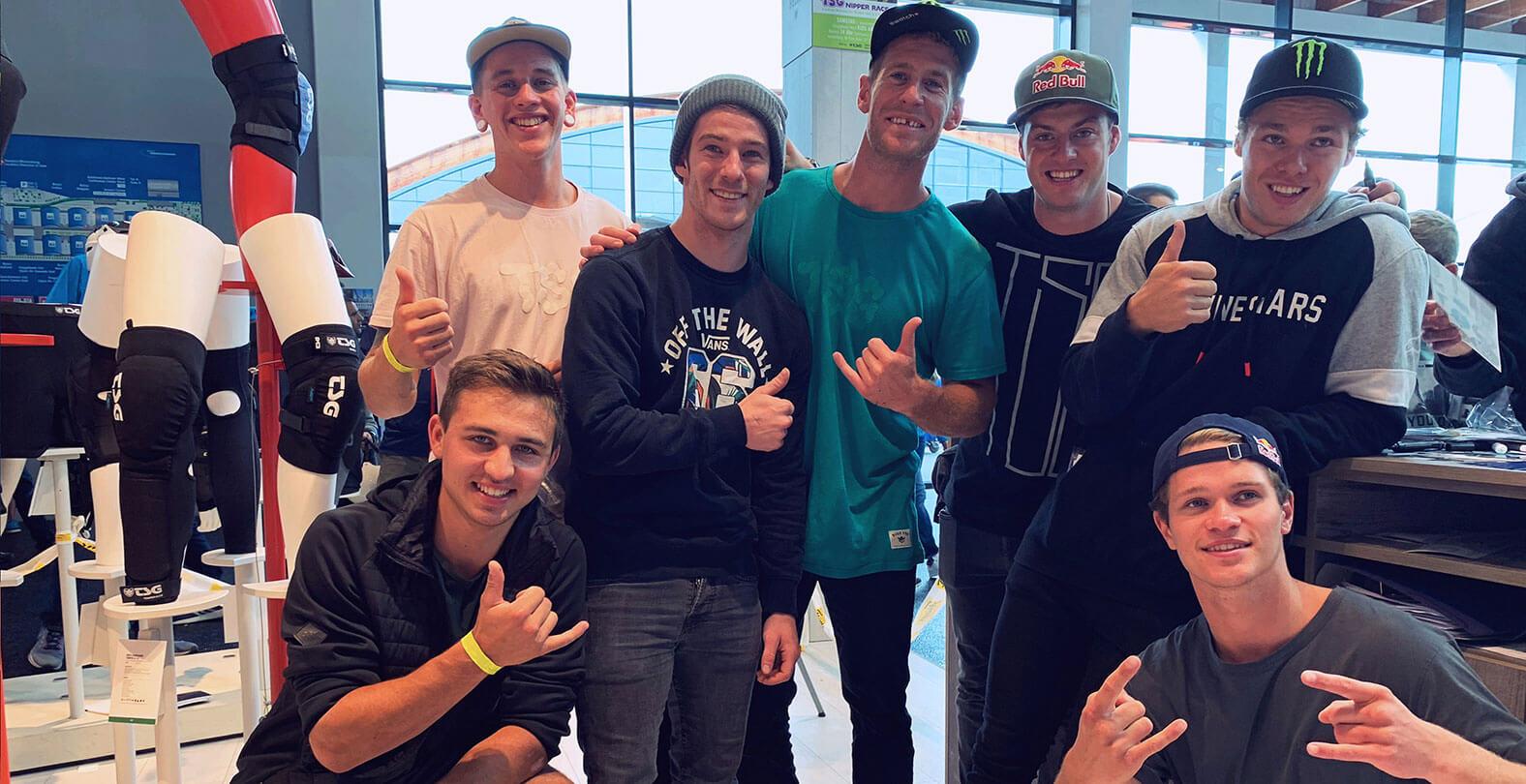 Eurobike 2019 TSG Messestand Team: Sam Pilgrim, Matt Jones, Lukas Schäfer, Lucas Huppert, Erik Fedko, Max Fredriksson, Maxime Vinchent