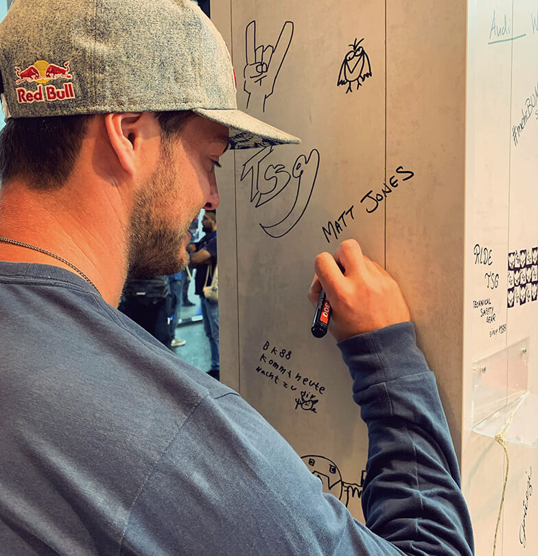 Eurobike 2019 TSG booth Matt Jones signing
