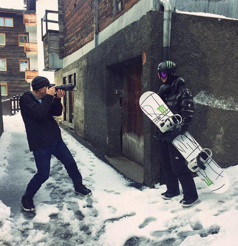 TSG winter 2019 photo shoot Iouri Podladtchikov in Saas Fee village photo Peter Rauch