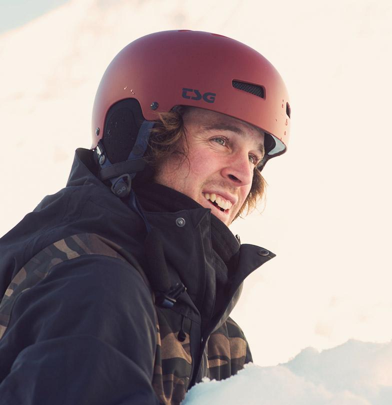 Freeskier Sampo Vallotton with TSG helmet