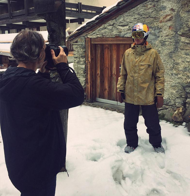 David Hablützel in front of the camera at TSG photo shoot winter 2019