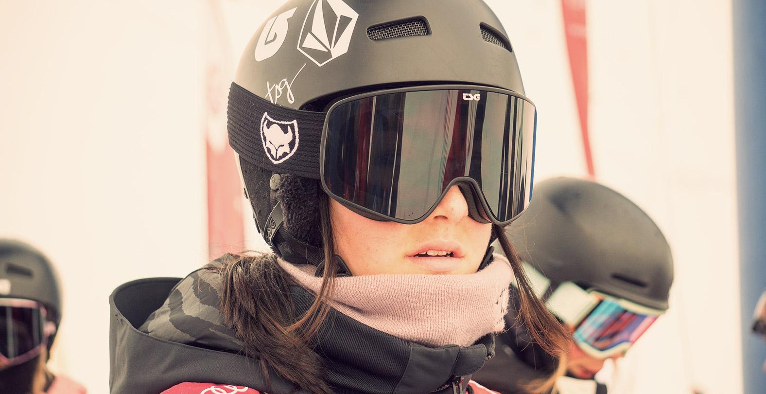 Leilani Ettel portrait snowboarder with helmet