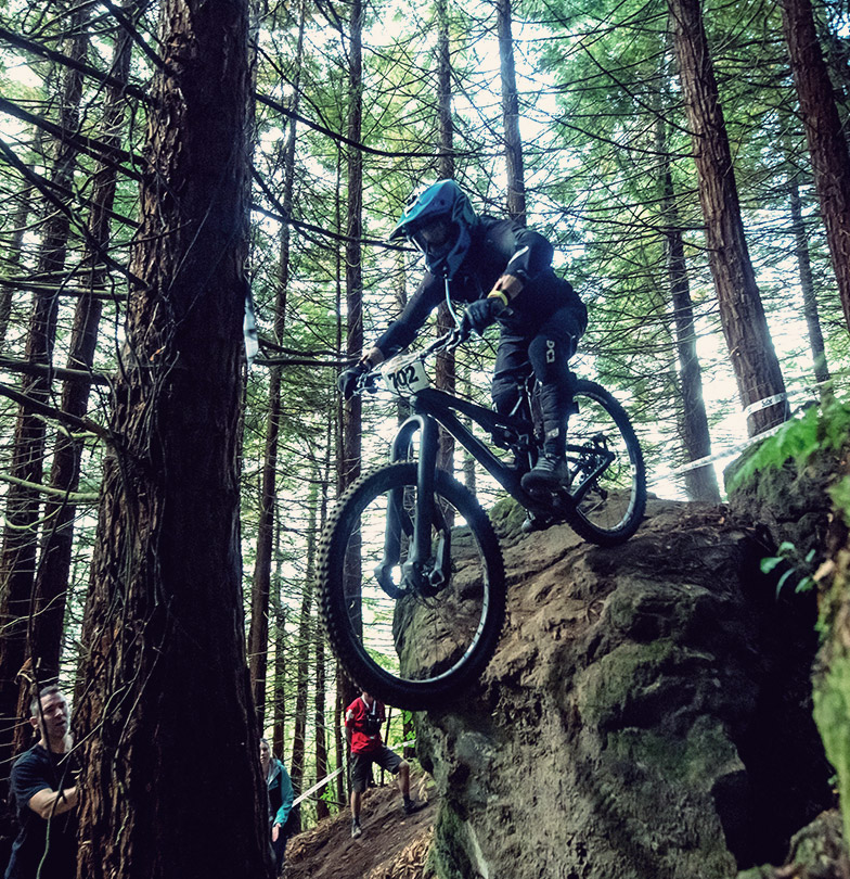 mountain biker going down