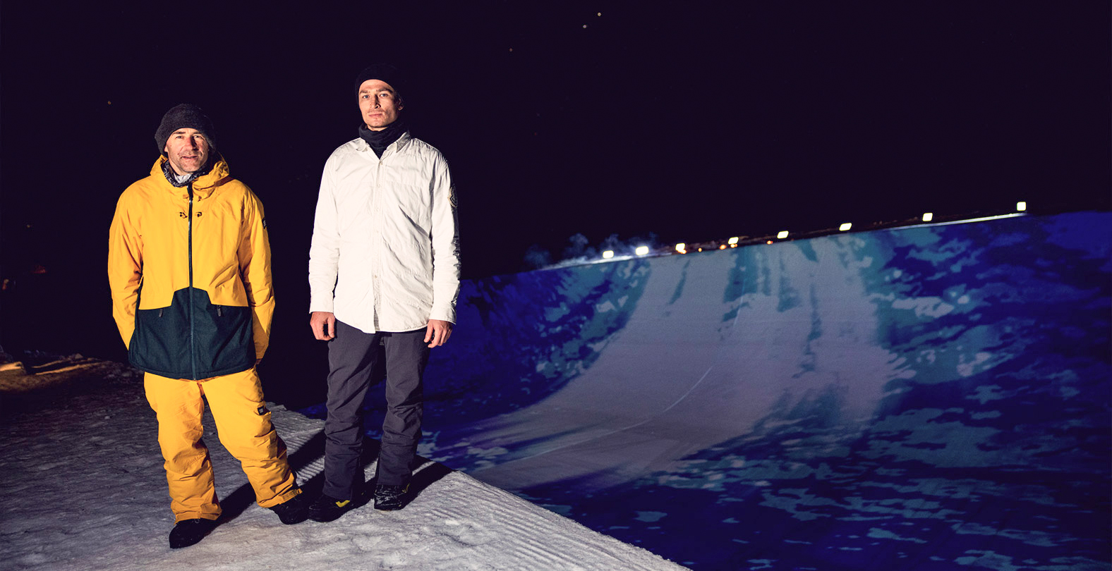Gian Simmen and Iouri Podladtchikov light up the halfpipe